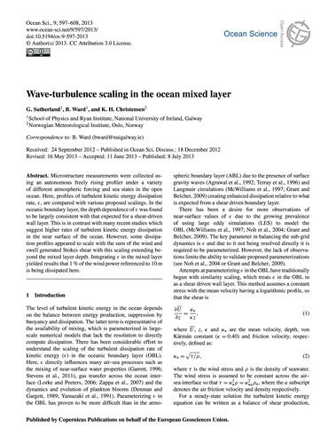 Wave-turbulence Scaling in the Ocean Mix... by Sutherland, G.