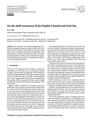 On the Shelf Resonances of the English C... by Webb, D. J.