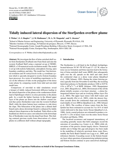Tidally Induced Lateral Dispersion of th... by Wobus, F.