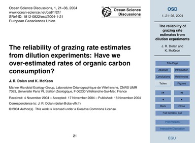 The Reliability of Grazing Rate Estimate... by Dolan, J. R.