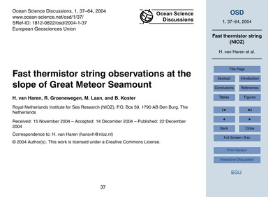 Fast Thermistor String Observations at t... by Van Haren, H.