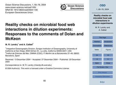 Reality Checks on Microbial Food Web Int... by Landry, M. R.