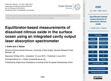 Equilibrator-based Measurements of Disso... by Grefe, I.