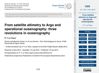 From Satellite Altimetry to Argo and Ope... by Le Traon, P. Y.