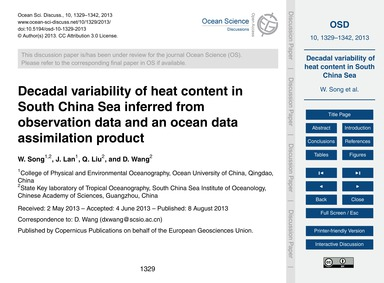 Decadal Variability of Heat Content in S... by Song, W.
