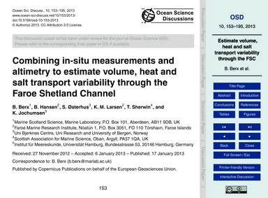 Combining In-situ Measurements and Altim... by Berx, B.