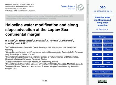 Halocline Water Modification and Along S... by Bauch, D.