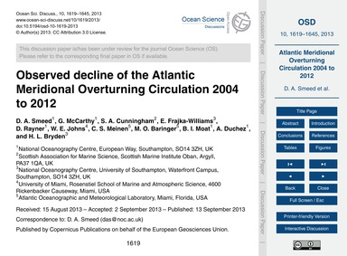 Observed Decline of the Atlantic Meridio... by Smeed, D. A.