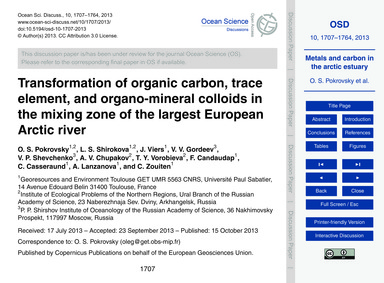 Transformation of Organic Carbon, Trace ... by Pokrovsky, O. S.