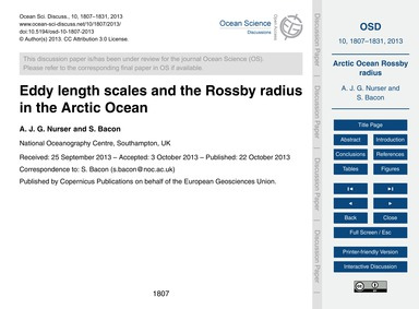 Eddy Length Scales and the Rossby Radius... by Nurser, A. J. G.