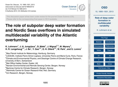 The Role of Subpolar Deep Water Formatio... by Lohmann, K.