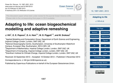 Adapting to Life: Ocean Biogeochemical M... by Hill, J.