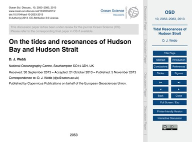 On the Tides and Resonances of Hudson Ba... by Webb, D. J.