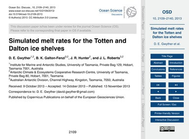 Simulated Melt Rates for the Totten and ... by Gwyther, D. E.