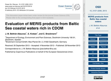 Evaluation of Meris Products from Baltic... by Beltrán-abaunza, J. M.