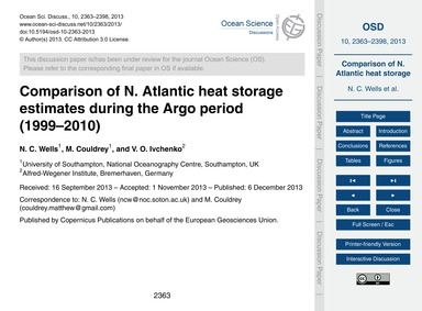 Comparison of N. Atlantic Heat Storage E... by Wells, N. C.