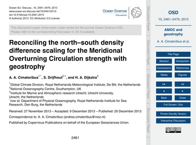 Reconciling the North–south Density Diff... by Cimatoribus, A. A.