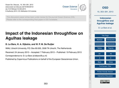 Impact of the Indonesian Throughflow on ... by Le Bars, D.