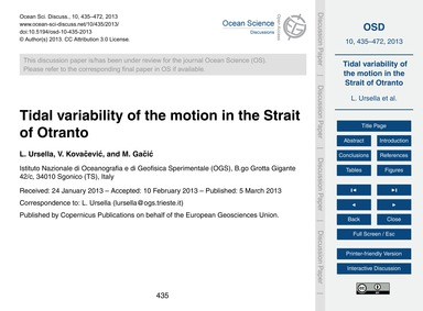 Tidal Variability of the Motion in the S... by Ursella, L.
