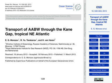 Transport of Aabw Through the Kane Gap, ... by Morozov, E. G.