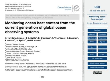 Monitoring Ocean Heat Content from the C... by Von Schuckmann, K.