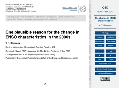 One Plausible Reason for the Change in E... by Stepanov, V. N.