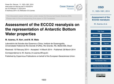 Assessment of the Ecco2 Reanalysis on th... by Azaneu, M.