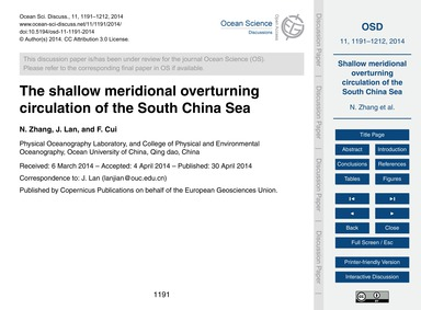 The Shallow Meridional Overturning Circu... by Zhang, N.