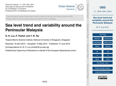Sea Level Trend and Variability Around t... by Luu, Q. H.