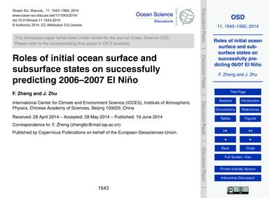 Roles of Initial Ocean Surface and Subsu... by Zheng, F.