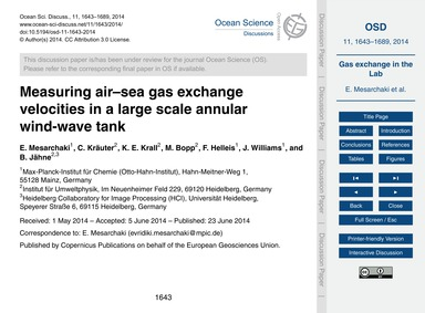 Measuring Air–sea Gas Exchange Velocitie... by Mesarchaki, E.