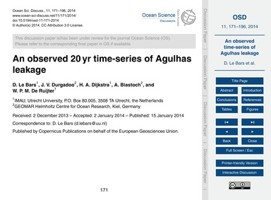 An Observed 20 Yr Time-series of Agulhas... by Le Bars, D.