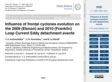 Influence of Frontal Cyclones Evolution ... by Androulidakis, Y. S.