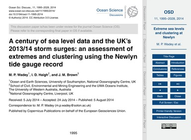 A Century of Sea Level Data and the Uk's... by Wadey, M. P.
