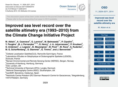 Improved Sea Level Record Over the Satel... by Ablain, M.