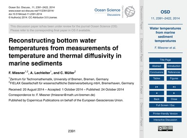 Reconstructing Bottom Water Temperatures... by Miesner, F.