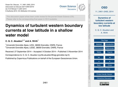 Dynamics of Turbulent Western Boundary C... by Akuetevi, C. Q. C.