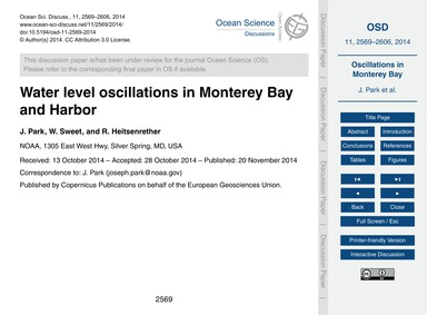 Water Level Oscillations in Monterey Bay... by Park, J.