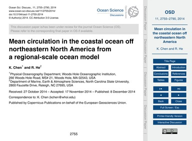 Mean Circulation in the Coastal Ocean Of... by Chen, K.