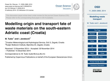 Modelling Origin and Transport Fate of W... by Tudor, M.