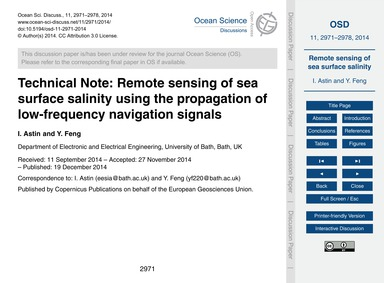 Technical Note: Remote Sensing of Sea Su... by Astin, I.