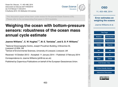 Weighing the Ocean with Bottom-pressure ... by Williams, Joanne