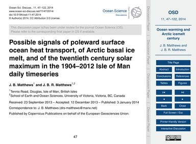 Possible Signals of Poleward Surface Oce... by Matthews, J. B.