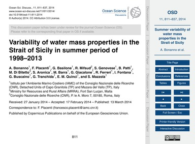 Variability of Water Mass Properties in ... by Bonanno, A.