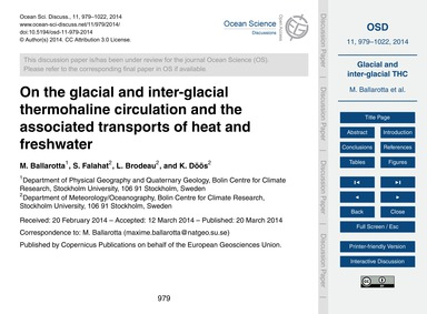 On the Glacial and Inter-glacial Thermoh... by Ballarotta, M.