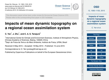 Impacts of Mean Dynamic Topography on a ... by Yan, C.