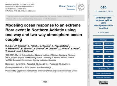 Modeling Ocean Response to an Extreme Bo... by Ličer, M.