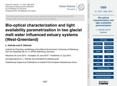Bio-optical Characterization and Light A... by Holinde, L.
