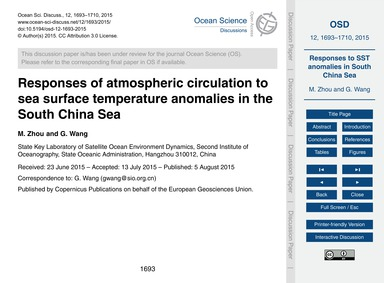 Responses of Atmospheric Circulation to ... by Zhou, M.