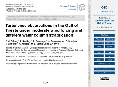 Turbulence Observations in the Gulf of T... by Falcieri, F. M.
